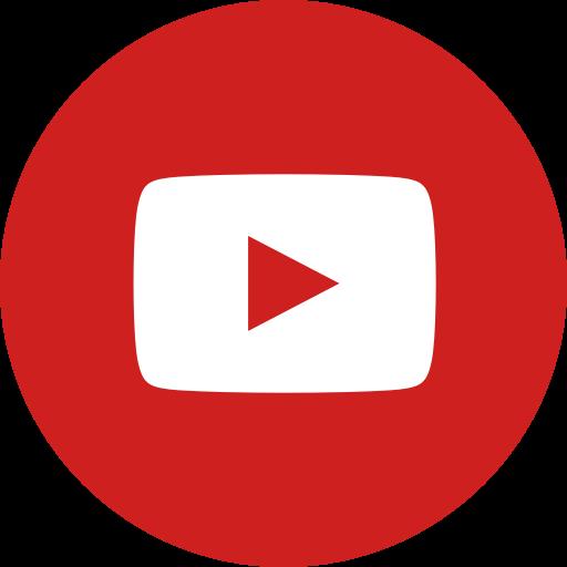 Circle, round icon, video, youtube icon.