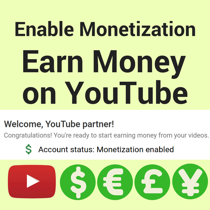 How to enable monetization on YouTube.