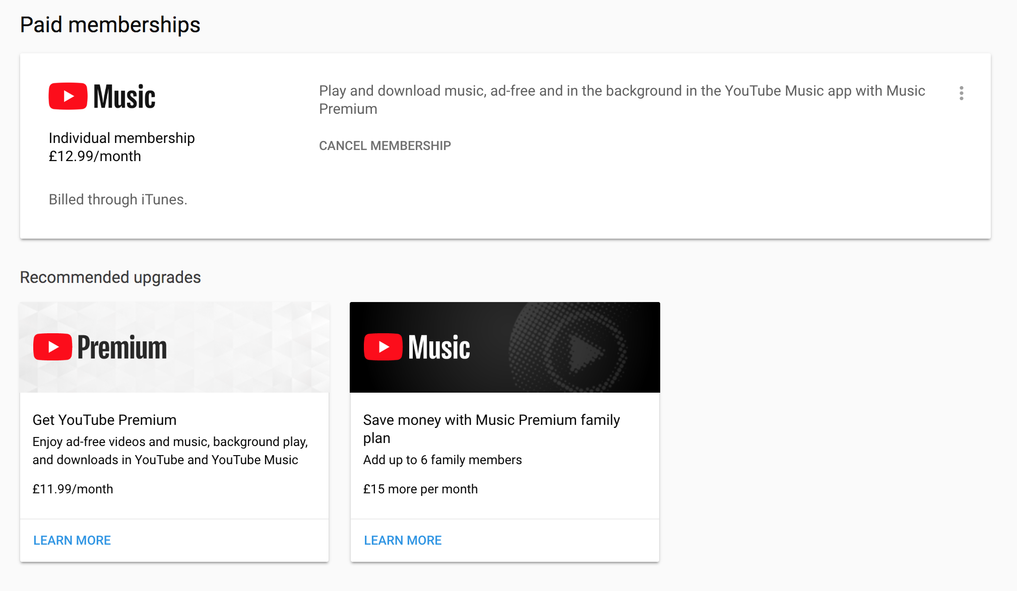 Why is my YouTube Music monthly fee £12.99 when the Premium.