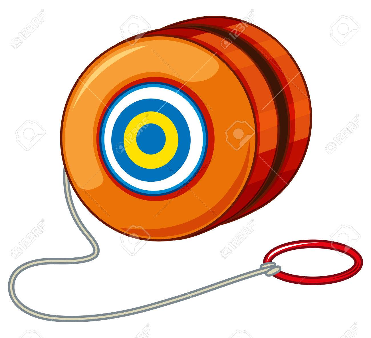 Orange yoyo with red ring illustration.