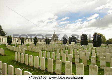 Stock Images of world war one cemetery tyne cot belgium flanders.