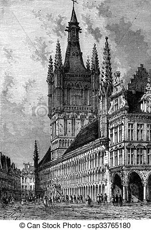 Stock Illustration of The Town Hall of Ypres, vintage engraving.