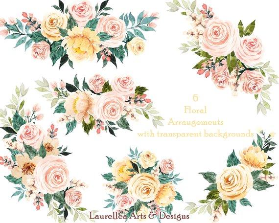 Spring Watercolor Premade Floral Arrangements Cliparts.