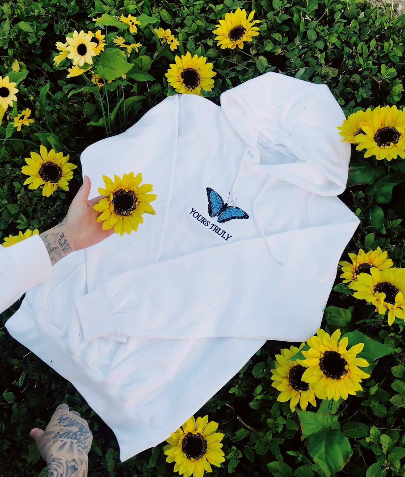 Yours Truly Blue Butterfly Hoodie.