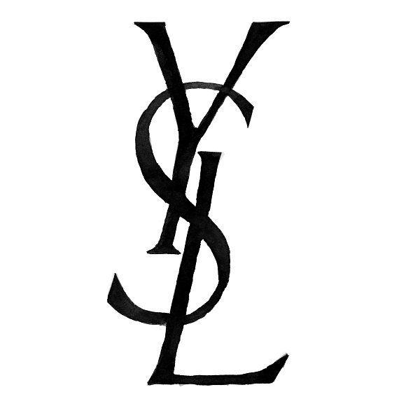 Fashion Illustration, Yves Saint Laurent (YSL) Logo, Black.