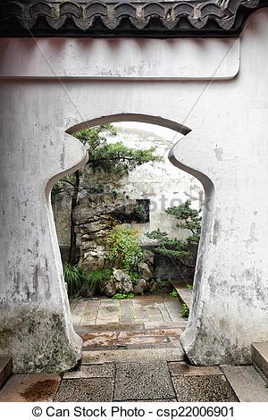 Stock Photography of Doorway in Yu Yuan Garden.