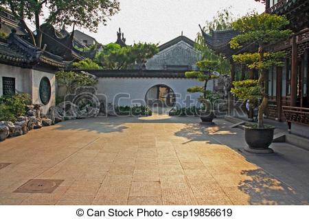 Clipart of Yuyuan gardens, Shanghai, China, oil paint stylization.