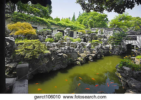 Stock Photography of Pond in a garden, Yu Yuan Gardens, Shanghai.