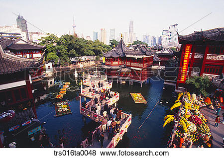 Pictures of China, Shanghai, Scene of yu yuan garden trs016ta0048.