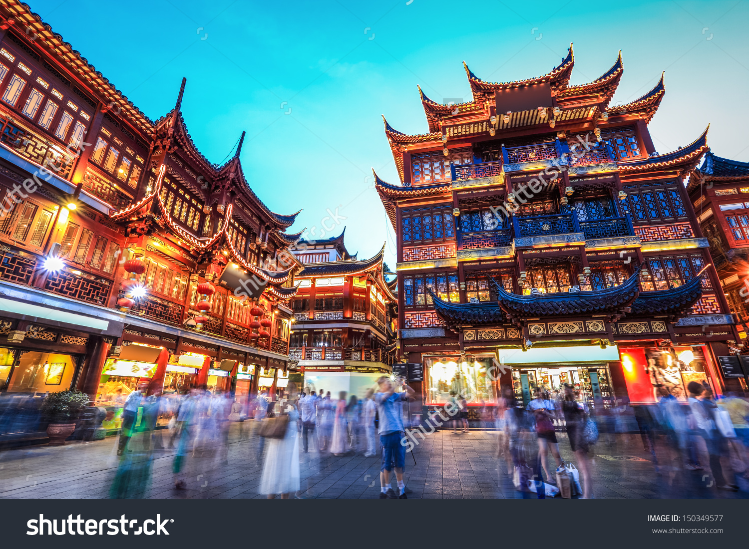 Beautiful Yuyuan Garden Nighttraditional Shopping Area Stock Photo.
