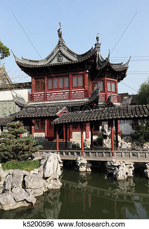 Stock Images of Traditional Chinese Building in Yuyuan Garden.