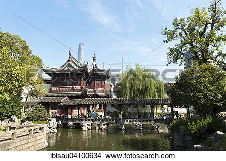 Stock Photo of Huxing Ting teahouse in the Yu Yuan Gardens.