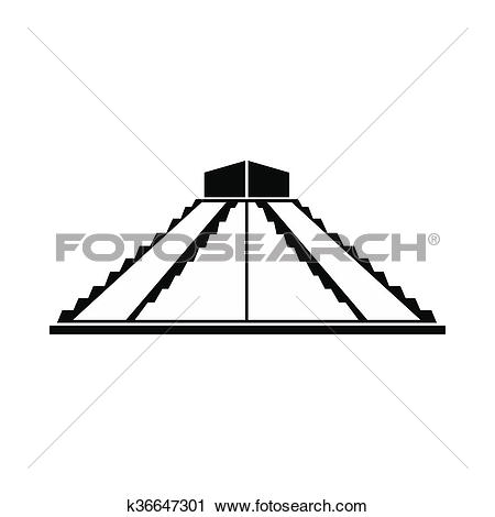 Clipart of Mayan pyramid in Yucatan, Mexico icon k36647301.