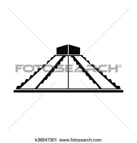 Clipart of Mayan pyramid in Yucatan, Mexico icon k36647301.