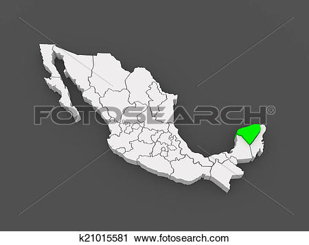 Clipart of Map of Yucatan. Mexico. k21015581.