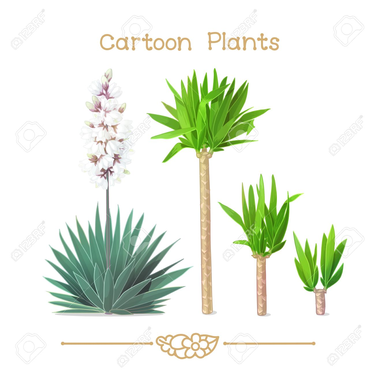 Illustration collection Cartoon Plants. Young shoots of yucca.