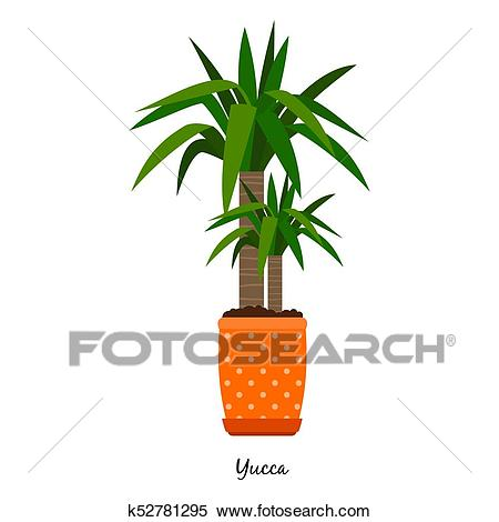 Yucca plant in pot Clipart.