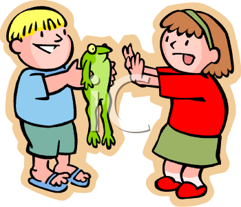 Royalty Free Clipart Image: Little Boy Teasing His Sister with a Frog.