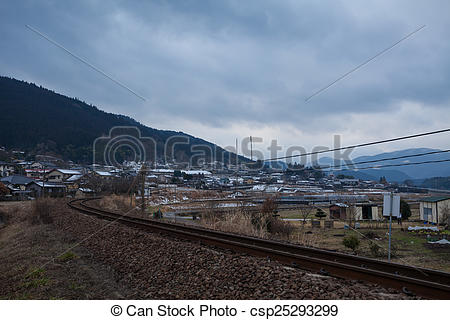 Stock Photographs of Small village with mountain in Yufuin, Japan.