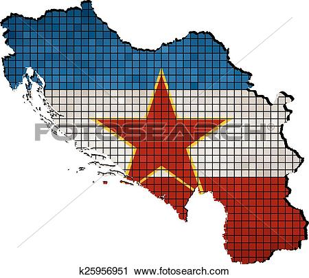 Clipart of Yugoslavia map with flag inside k25956951.