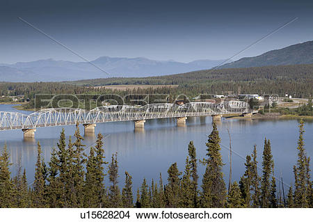Stock Photo of Nisutlin Bay Bridge, Teslin, Yukon Territory.