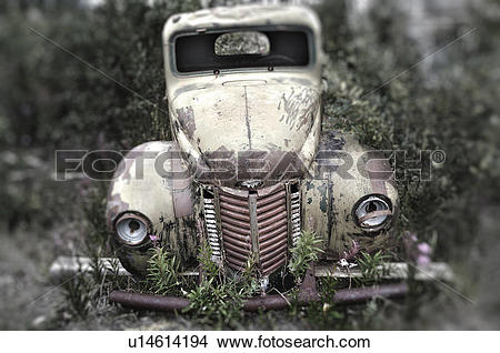 Stock Photo of Old abandoned International truck in Destruction.