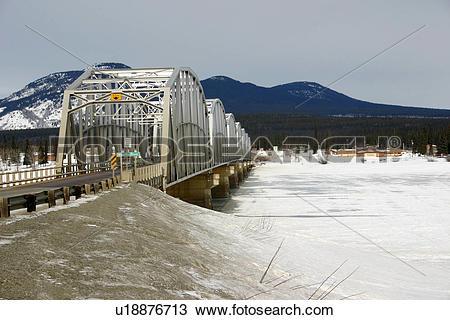 Stock Photo of Teslin River Bridge, Yukon Territory on the Alaska.