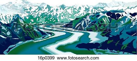 Clip Art of Yukon Mountains 16p0399.