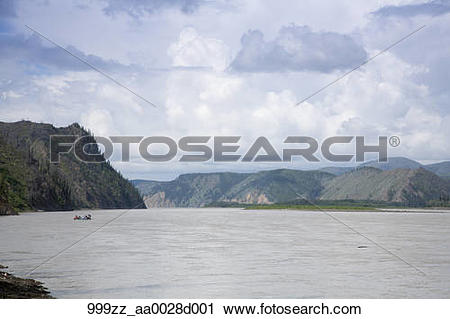 Stock Photography of Rafters floating down the Yukon River near.