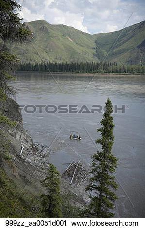 Stock Photography of Families float down Yukon River in Yukon.