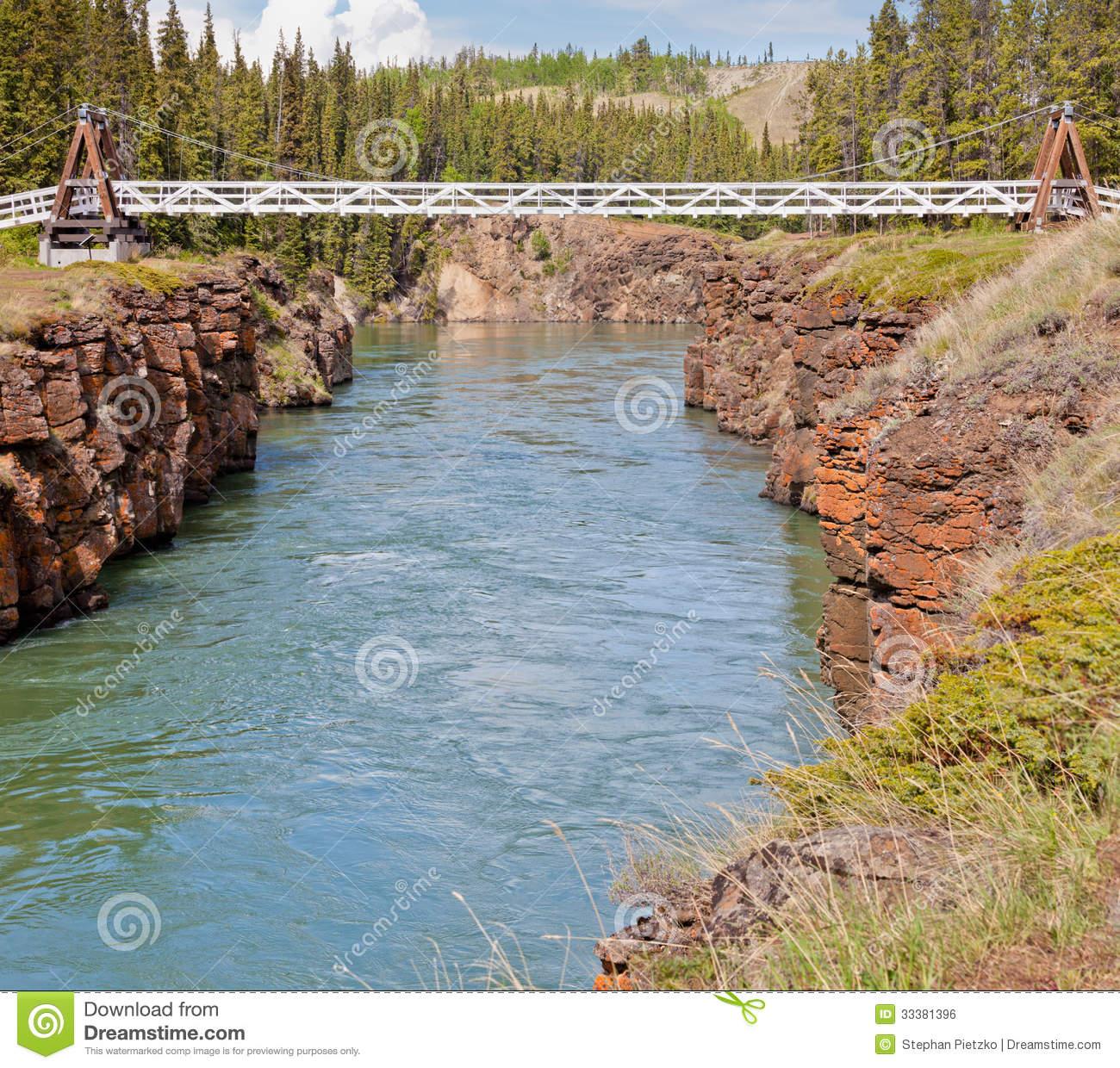 Yukon River Water Miles Canyon Whitehorse Canada Stock Photo.