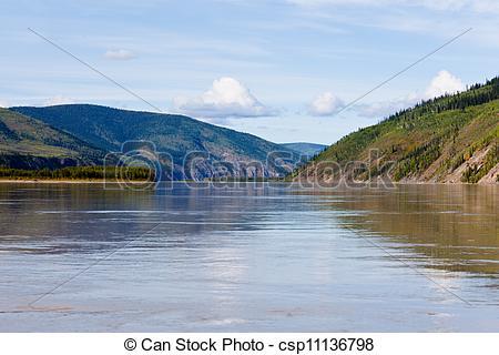 Stock Photographs of Taiga hills at Yukon River near Dawson City.