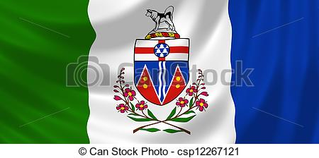 Clip Art of Flag of Canadian Yukon territory waving in the wind.