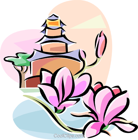 Chinese yulan magnolia flower Royalty Free Vector Clip Art.