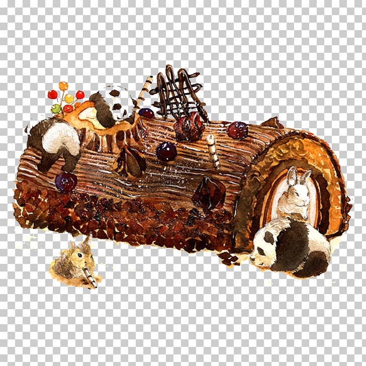 Yule log Chocolate cake, Creative Cakes watercolor PNG.
