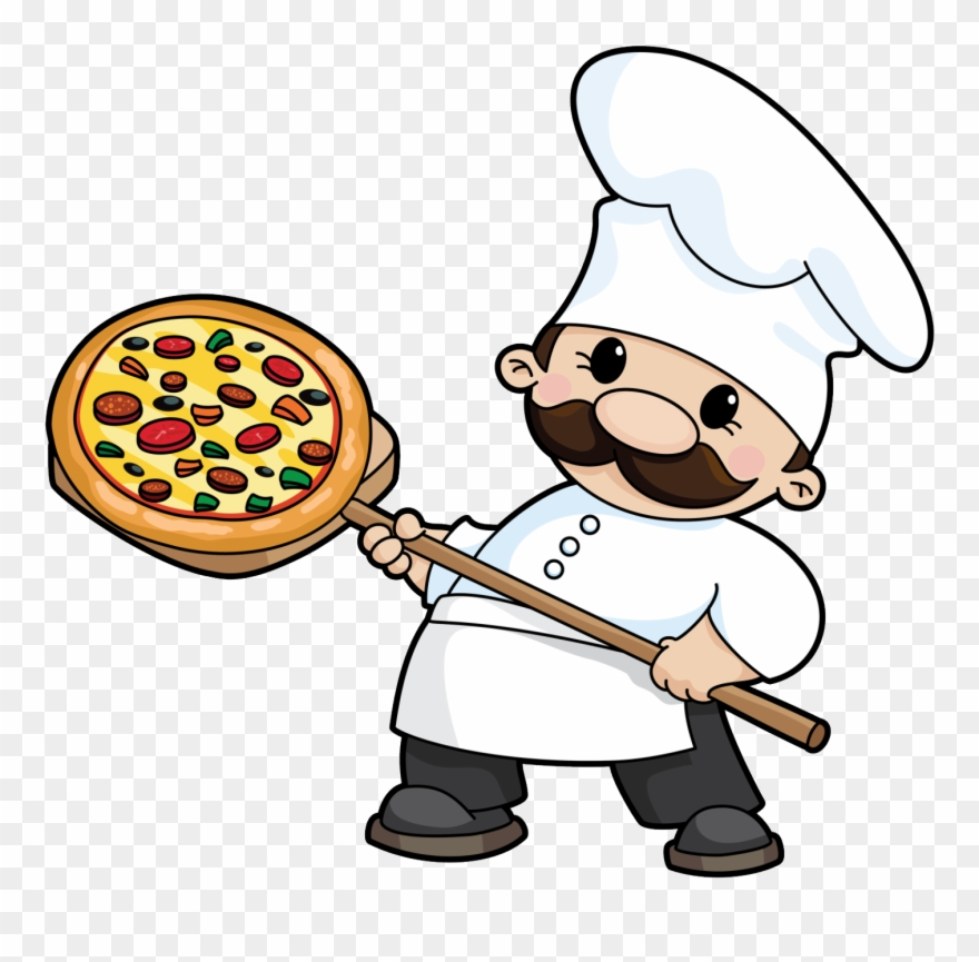Clipart Of Guys, Orders And Pizza.