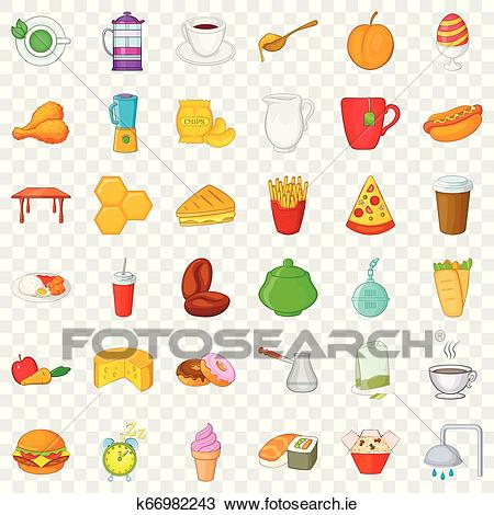 Yummy breakfast icons set, cartoon style Clipart.