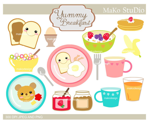 Yummy breakfast clip art breakfast clipart Png &, by makostudio.