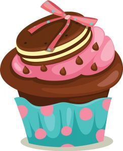 Delicious cupcakes with sprinkles vector.