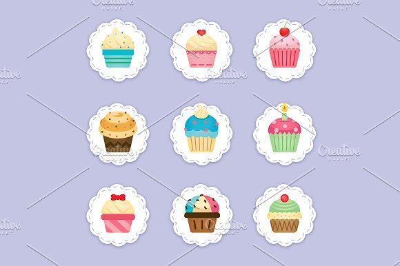 Cupcake Clipart, cupcakes icons Graphics 9 lovely, sweet and.