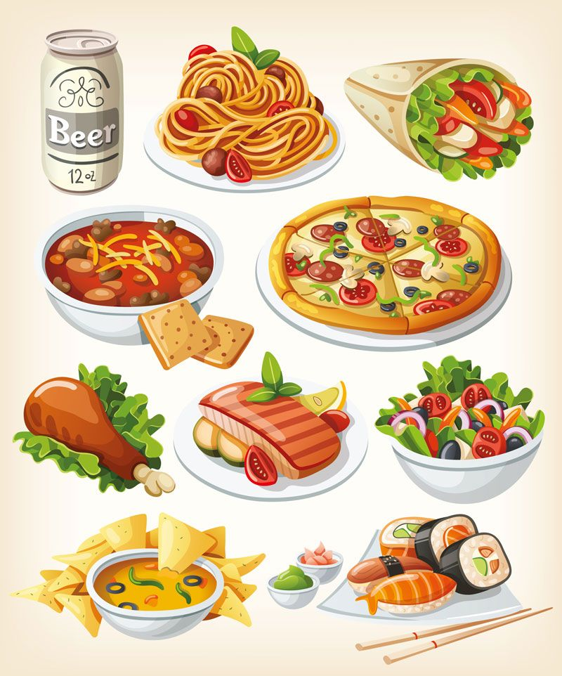 Vector tasty food images.