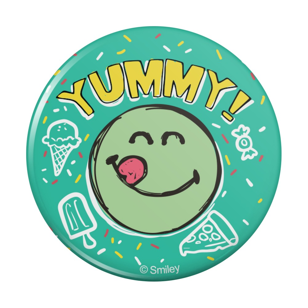 Details about Yummy Food Smiley Face Officially Licensed Pinback Button Pin.