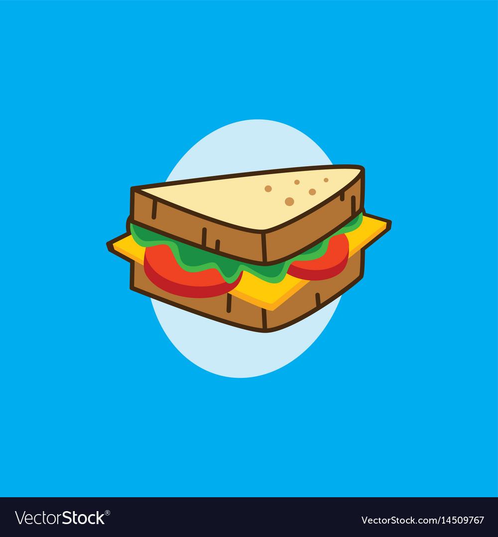 Delicious yummy sandwich for breakfast cartoon.
