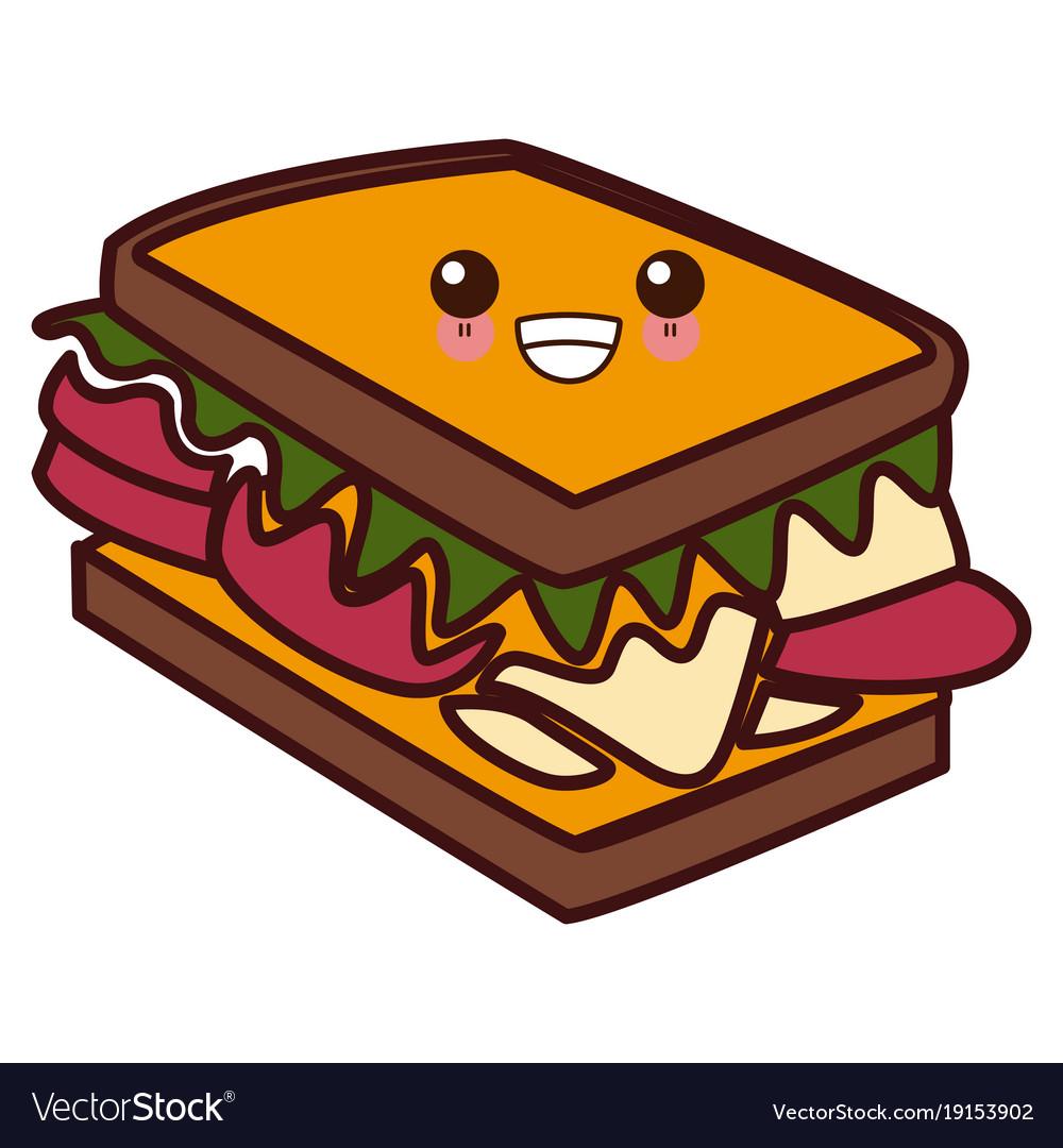 Sandwich delicious food kawaii cute cartoon.