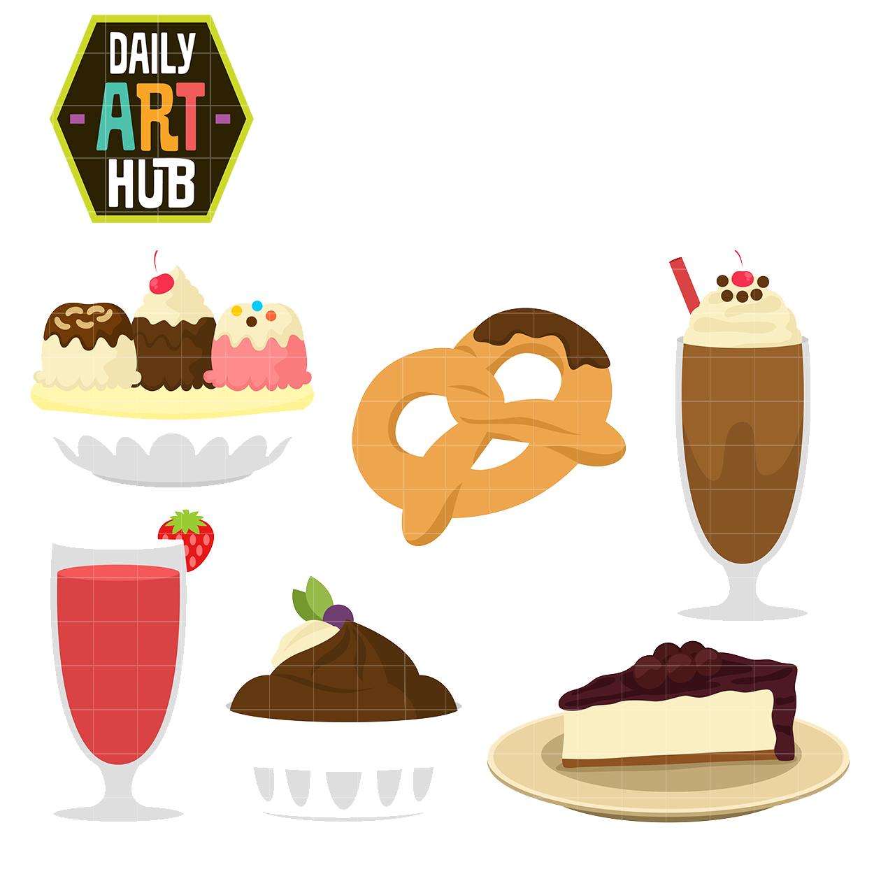 Yummy Sweet Snacks Clip Art Set.