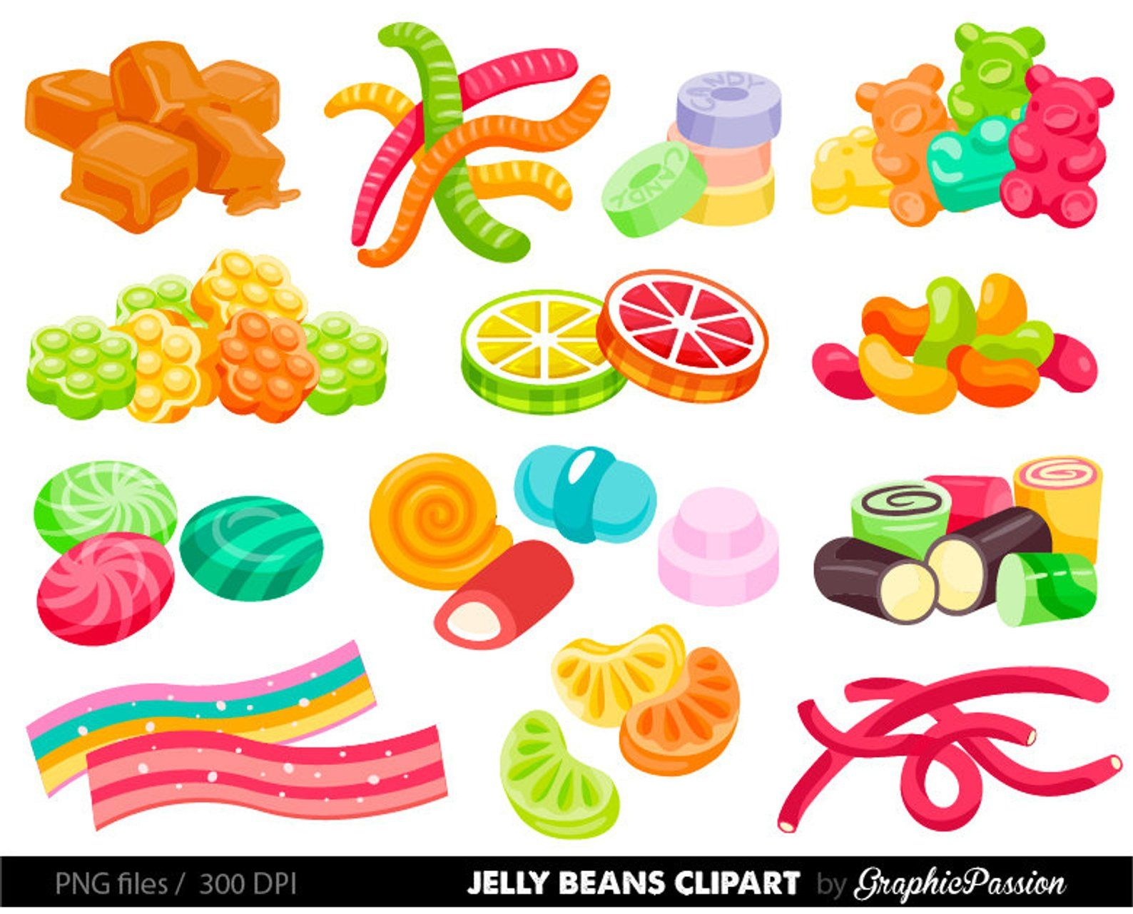 Jelly beans clipart Candy graphics Wonka Party Clipart.