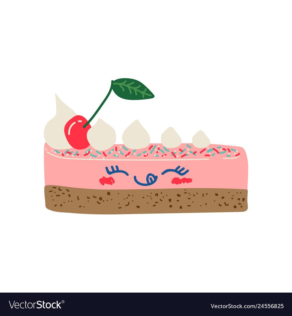 Happy cute delicious piece of cake cartoon.