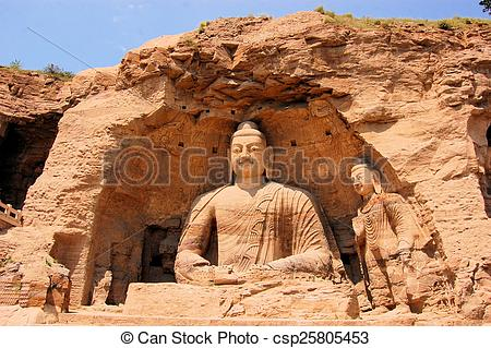 Stock Images of UNESCO Yungang Grottoes Buddhist caves, China.