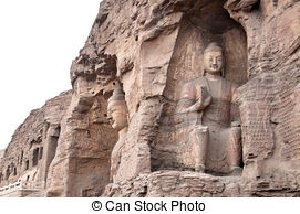 Stock Image of UNESCO Yungang Grottoes Buddhist caves, China.