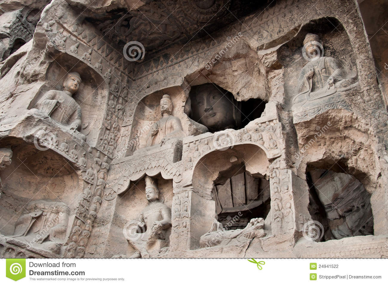 Carved Buddhas At The Yungang Caves, Datong Stock Photography.